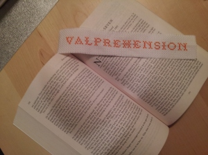 And I made myself a Valprehension bookmark! :)