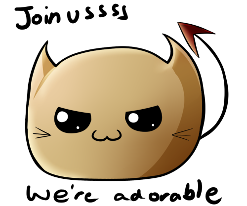 "Image is of a spherical light brown cat with a devil tail, with taxt ""Join usssss we're adorable"""